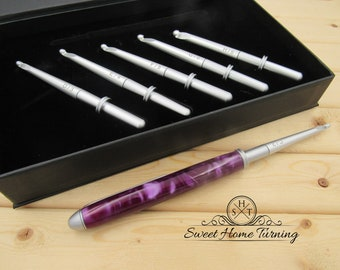 Interchangeable Crochet Hook Set  |  Hand Turned Crochet Hook  |  Purple Acrylic