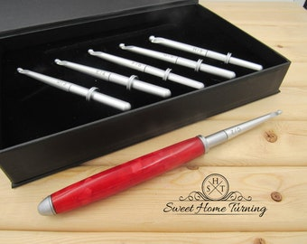 Interchangeable Crochet Hook Set  |  Hand Turned Crochet Hook  |  Red Acrylic