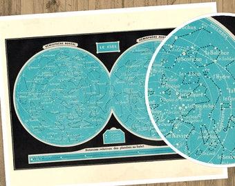 Vintage Constellation Print, Printable Astronomy Print, Printable Sky Map Astronomy Gifts, Vintage Astronomy Poster Constellation Art French