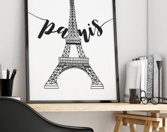 Printable Paris Wall Art, Paris Artwork, Paris Eiffel Tower Decor, Printable Paris Decor, Printable Eiffel Tower Print Printable Paris Print