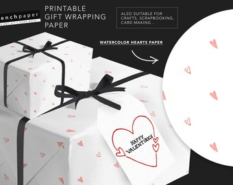 Valentines Day Gift Wrap Paper Printable Wrapping Paper, Valentines Wrapping Paper Digital Printable Valentines Gift Wrap Sheets Heart Paper