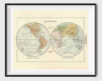 Vintage map print etsy printable world map poster printable map print vintage world map art antique world map vintage map printable french world map wall art gumiabroncs Choice Image