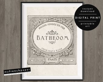 Rustic Bathroom Wall Art Farmhouse Decor Printable Sign Print