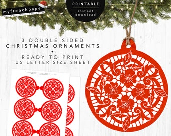 Printable Christmas Tree Ornaments Red Ball Diy Christmas Etsy