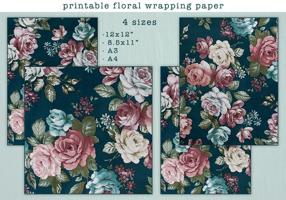 printable wrapping paper sheets printable floral wrapping etsy