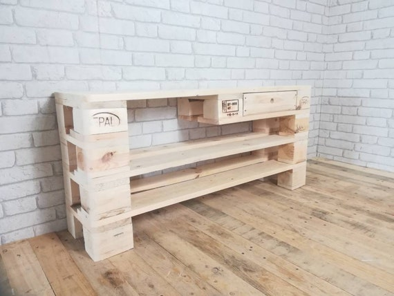 """Shoe rack """"Borken"""" + drawer + extra-high compartment made of pallets / pallet furniture"""