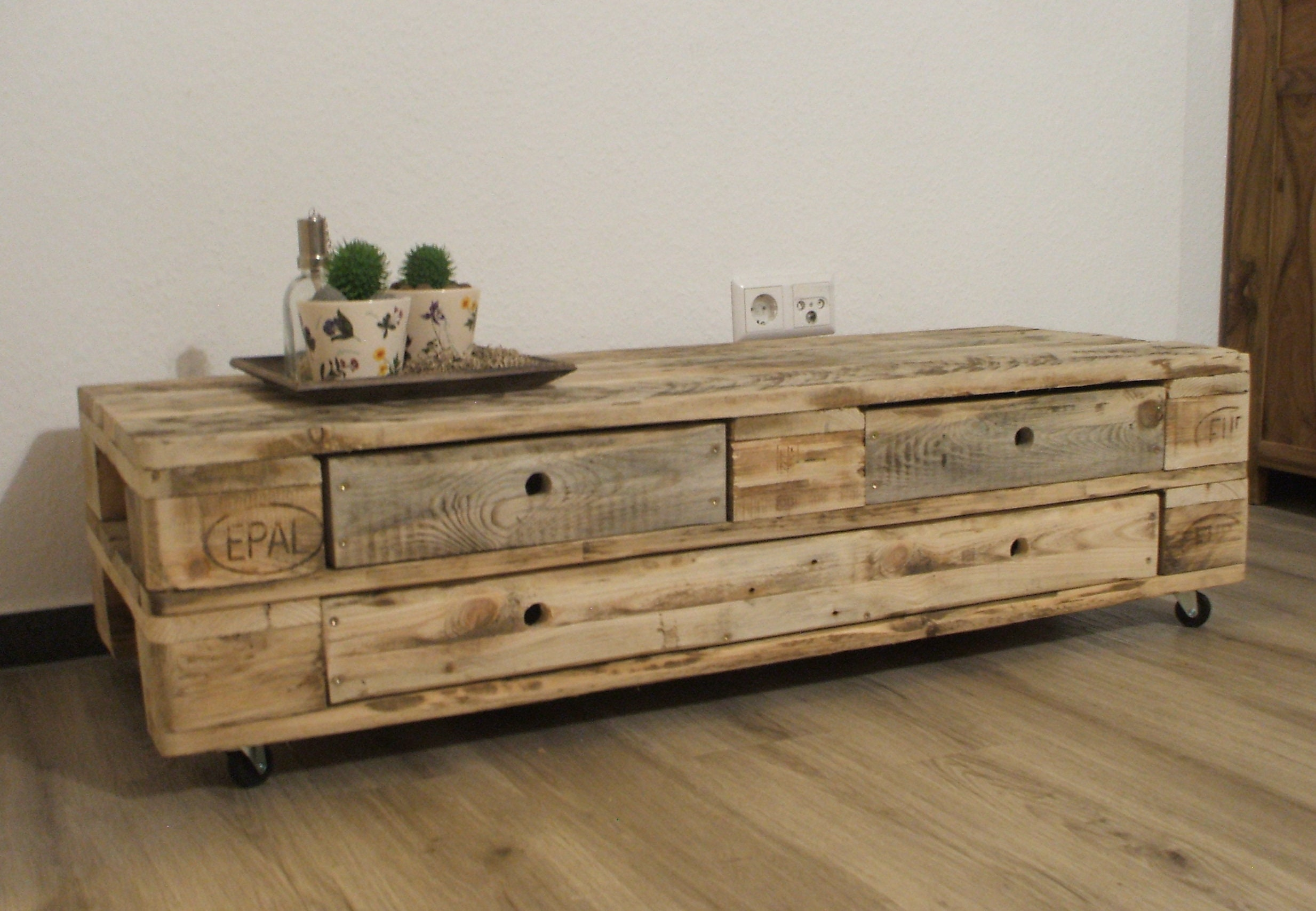 Lowboard Tv Cupboard Made Of Pallets With 3 Drawers Palettenmobel