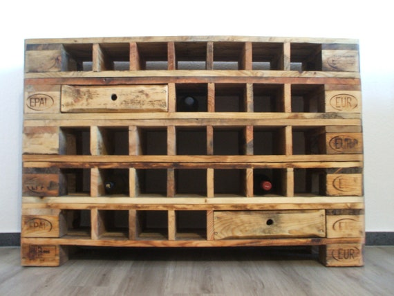 Wine rack made of pallets / sideboard with wine compartments / pallet furniture