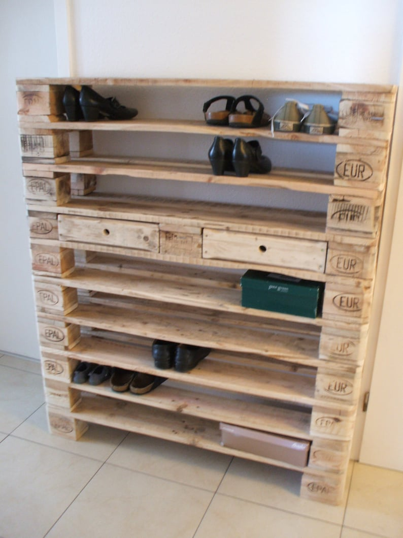 XXL shoe rack made of pallets 10 floors Pallet furniture image 0