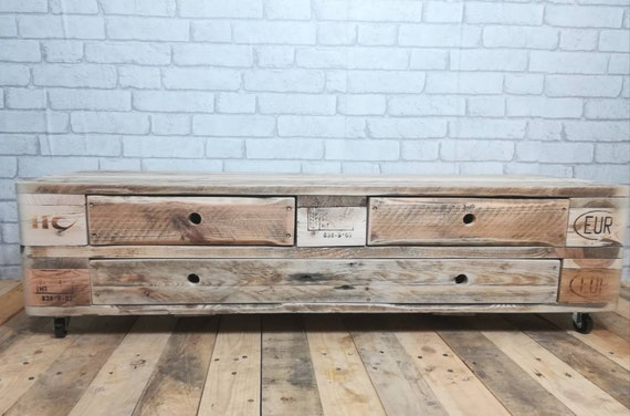 "Lowboard ""Vaduz"" / TV cabinet made of pallets with 3 drawers / pallet furniture"