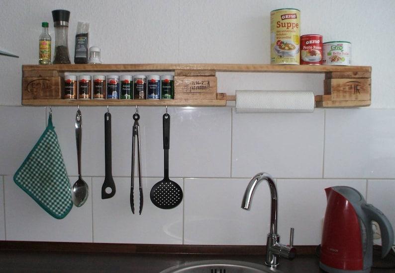 Kitchen shelf / Spice rack made of pallet / pallet furniture dunkel