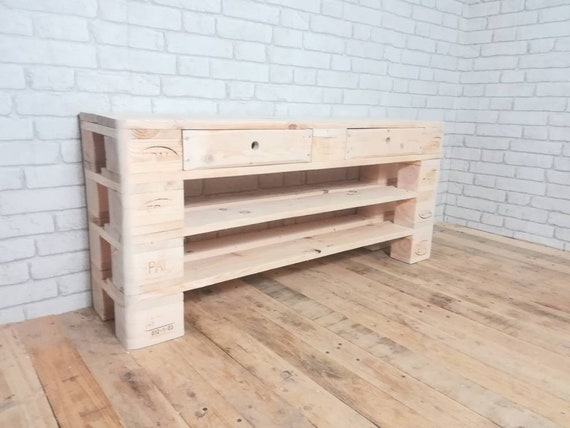 """Shoe rack """"Large Fullen"""" made of pallets with 2 drawers / pallet furniture"""