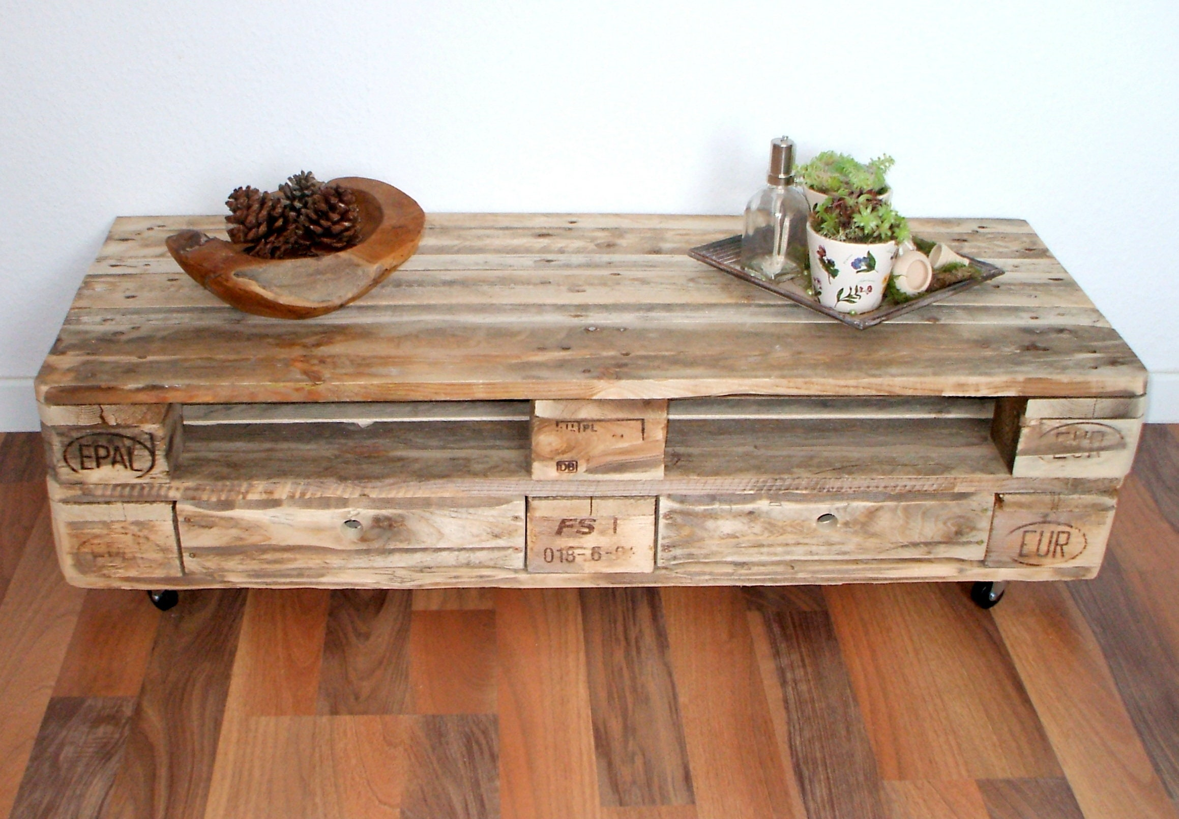 Lowboard Tv Cabinet Made Of Pallets With 2 Drawers Palettenmobel