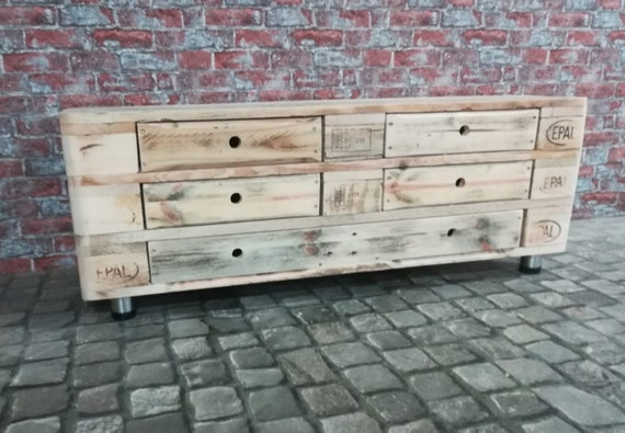 """Lowboard """"Menton"""" with 3 floors, 5 drawers and stainless steel feet made of pallet wood / pallet furniture"""