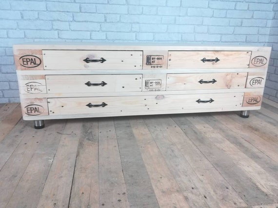 """Lowboard """"Helsinki"""" with 3 floors, 5 drawers and round stainless steel feet made of pallet wood / pallet furniture"""