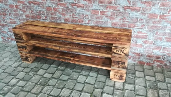 "Shoe rack ""Versen"" with 3 floors GEFLAMMT made of pallets / pallet furniture"