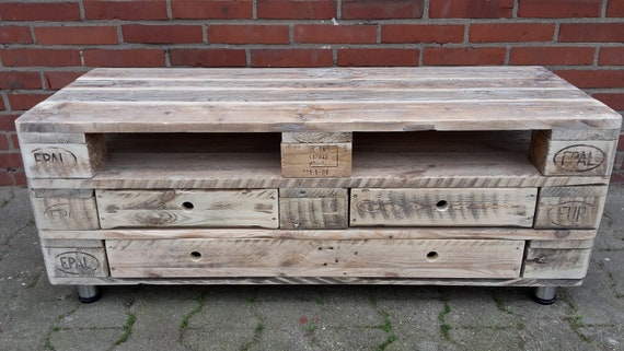 "Lowboard ""Monaco"" with 3 floors, 3 drawers and stainless steel feet made of pallet wood / pallet furniture"