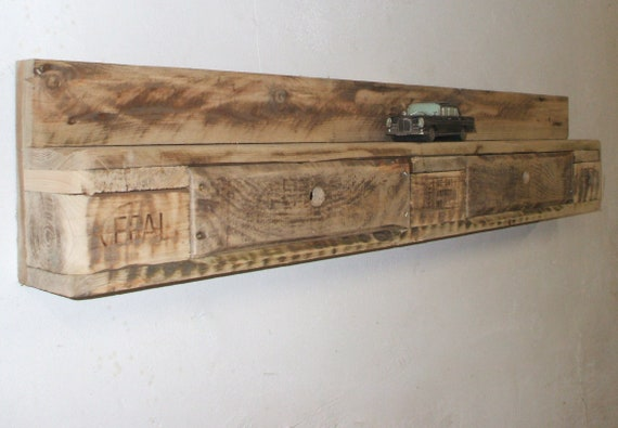 Wall shelf / shelf of pallets with 2 drawers / pallet furniture