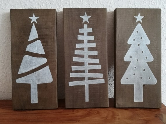 Set of 3 Christmas trees hand painted on grey pallet wood