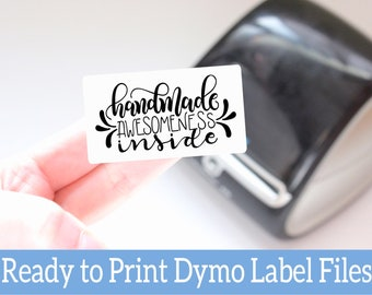 Printable Labels for Small Business - Dymo Compatible Packaging Labels - Handmade Awesomeness Inside