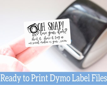 Oh Snap Share your Purchase Labels - Ready to Print Packaging Stickers - Dymo Label Designs - Dymo Compatible Labels for Handmade Sellers