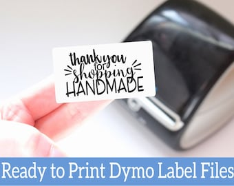 Thank You For Shopping Handmade Label - Ready to Print Packaging Stickers - Dymo Label Designs - Dymo Compatible Labels for Handmade Sellers