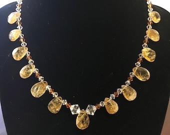Faceted citrine & swarovski crystal necklace