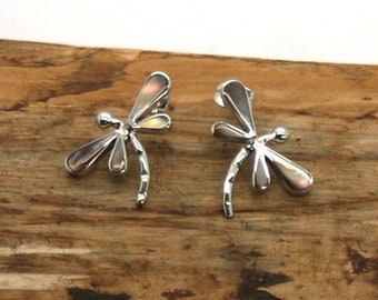 8ad9c7eac Sterling Silver Coloured Dragonfly Stud Earrings - Silver Stud Earrings -  Gift for her - Stud Earrings - Handmade Dragonfly Earrings TANE-8