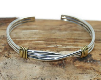 f5484223c23 Sterling Silver Strands with Twist and Gold Cuff Bangle - Handmade Silver  Cuff Bangle - 925 silver cuff bangle - cuff bangle silver - MB30