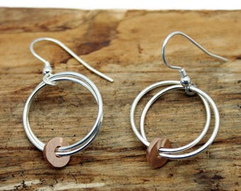 Sterling Silver Fallon Drop Earrings With Red Gold Disc  (YE006)