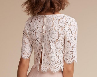 a02dbebb93d90 Cord lace cover up bridal ALLEGRA Lace Top bridal jacket wedding lace  topper crop top wedding jacket bridal bolero lace wrap