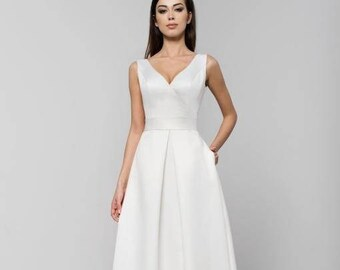 8c891c39f8 HANA Dress Duchess Satin Wedding Gown Dress Fitted Bodice and Pleated Skirt  with Pockets Custom Order available