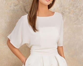 030bf4932ef Ivory AMELIA Top Alternative bridal Minimal sheer chiffon crop top with  sleeves Bridesmaid separates wedding topper boxy top
