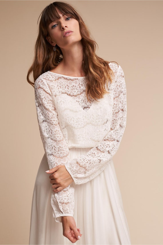 MEGHAN lace top long sleeves top crop top bridal escalope lace top eye lashes lace topper corded lace wedding top