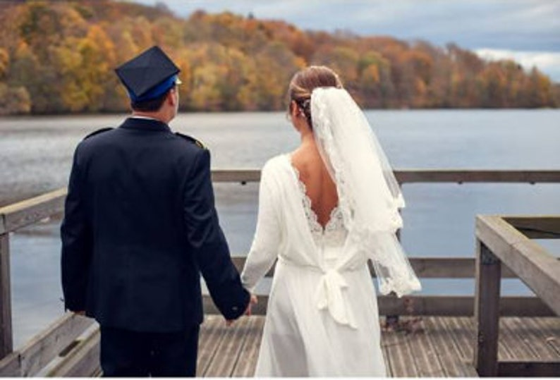MARGARET Top Alternative bridal Minimal crop top with long sleeves Wedding separates wedding topper boxy top