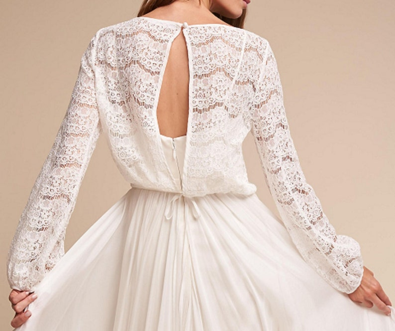 c96f14411f7 MEGHAN lace top long sleeves top crop top bridal escalope lace | Etsy