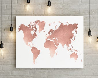 Gold World Map Poster.Rose Gold World Map Etsy