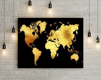 Black Gold Print Etsy - Black and gold world map