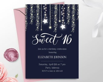 Elegant Sweet 16 Invitation Printable Navy Blue Girl 16th Birthday Invite Sixteen Party