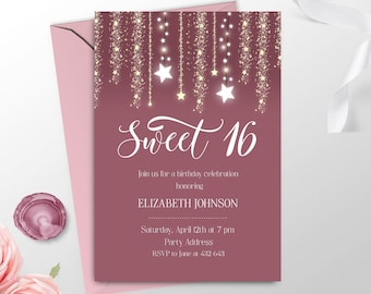 Elegant Sweet 16 Invitation Printable Pink Girl 16th Birthday Invitations Sixteen Invite Party