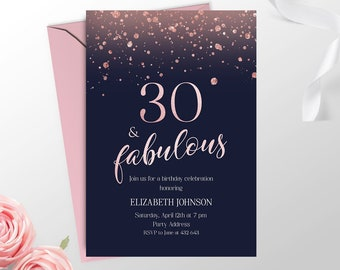 Rose Gold 30th Birthday Invitation For Women Printable Navy Blue Invitations Her Elegant Adult R1