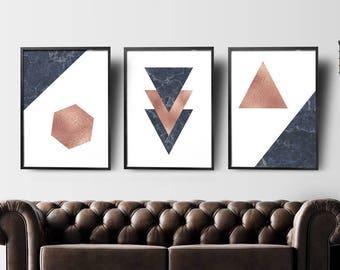 Modern Wall Art Set of 3, Living Room Wall Art Set, Geometric Wall Art Instant Download, Scandinavian Wall Art Set, Marble Navy Rose Gold