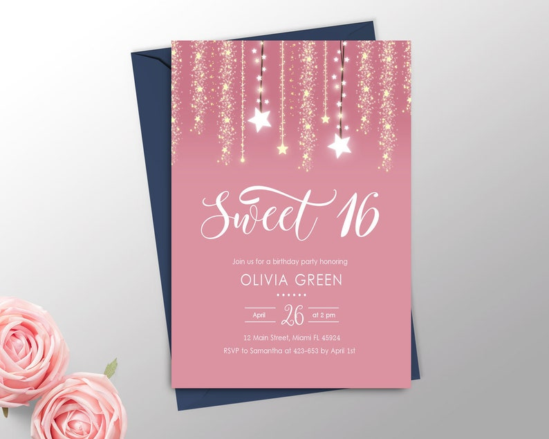 picture about Printable Sweet 16 Invitations named Classy Lovable 16 Invitation Printable, Red Lovable 16 Invitation Woman, 16th Birthday Invites, Lovable 16 Invite, 16th Birthday Social gathering