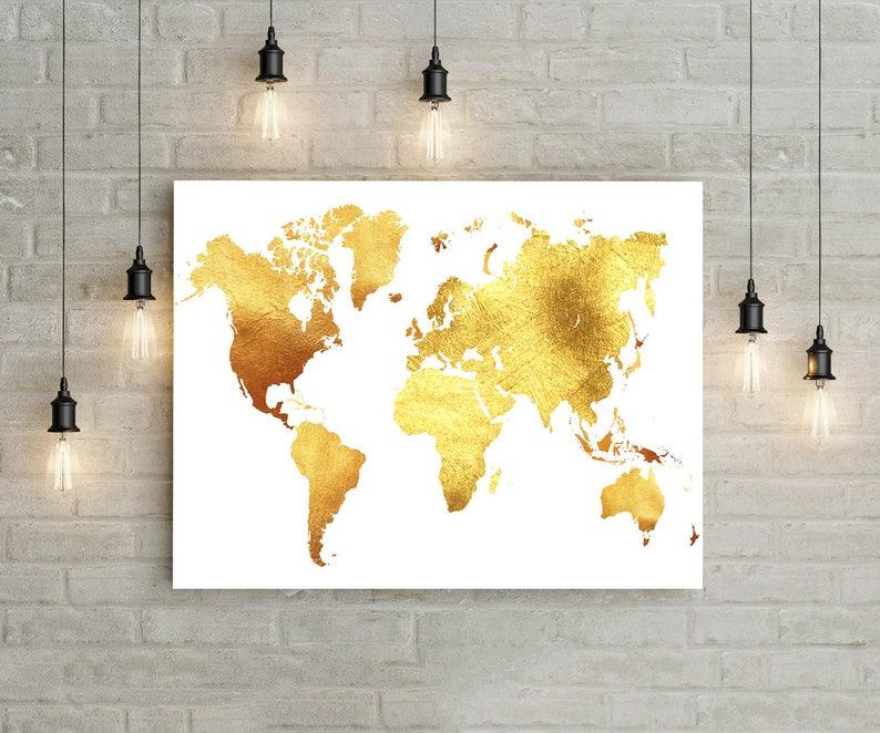 Gold World Map Print Gold Glitter Wall Art World Map Wall Art Etsy