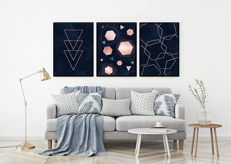 Modern Wall Art Prints Set Of 3 Navy Blue Rose Gold Wall Art Etsy