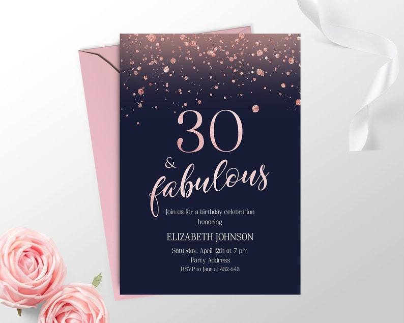 Rose Gold 30th Birthday Invitation For Women Printable Navy