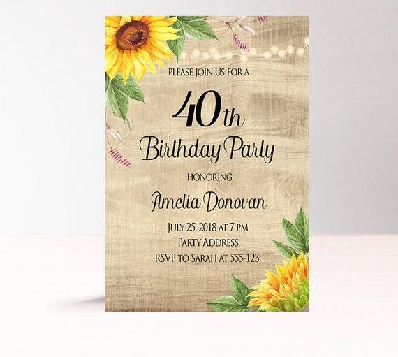 rustic birthday invitations printable 40th birthday etsy