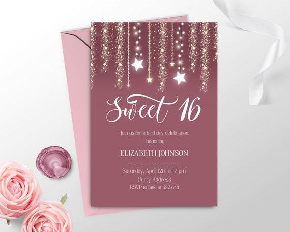 Elegant Sweet 16 Invitation Printable Pink Sweet 16 Etsy