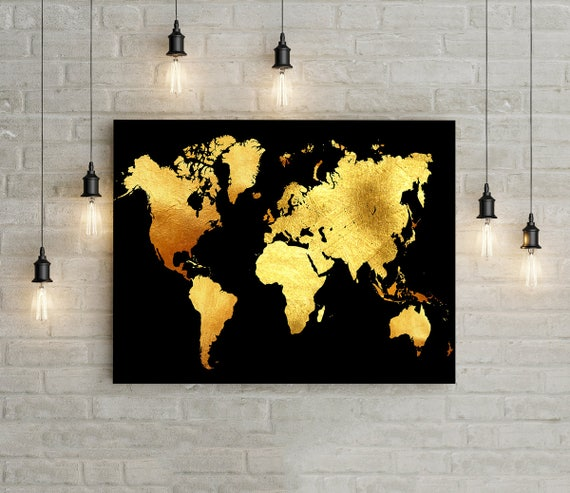 Gold World Map Wall Art.Black And Gold Wall Art Printable World Map Wall Art Instant Etsy