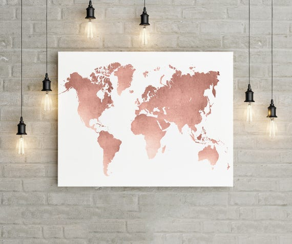 World Map Wall Art Rose Gold Print World Map Poster Rose | Etsy